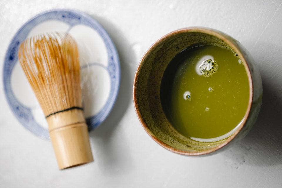 Een matcha set met japanse kom